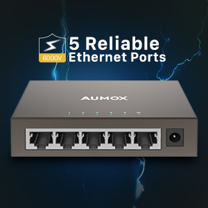 Aumox 5 port gigabit switch, ethernet switch, ethernet splitter, network switch