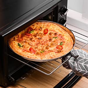 Healthy Bakeware for Oven Baking 13 Inch Round Pizza Pan Non-toxic Pizza Baking Sheets 4 Pack Set Polishing Design Heavy Duty /& Dishwasher Safe Velaze Pizza Baking Pan Stainless Steel Pizza Tray
