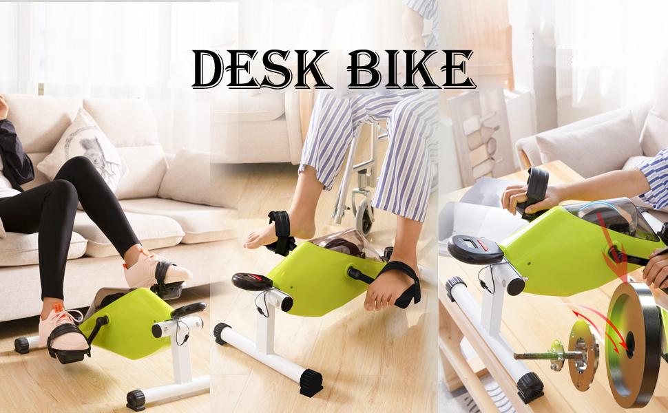 KONGDI Desk Exercise Bike Pedal Exerciser Bike Training Green