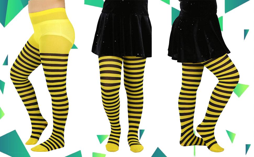 Girls Horizontal Striped Full Length Tights