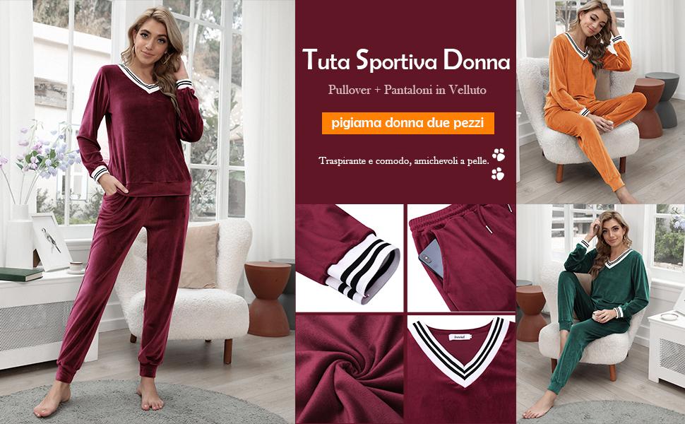 Lange Hose Sportswear Set Irevial Jogginganzug Damen Velours Nicki Schlafanz/üge Trainingsanzug Hausanzug Freizeit Zweiteiler Top