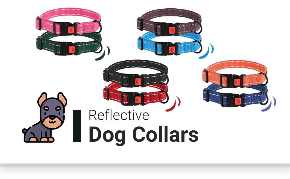 Reflective dog collar puppy buckle small extra large medium girl boy women female fancy