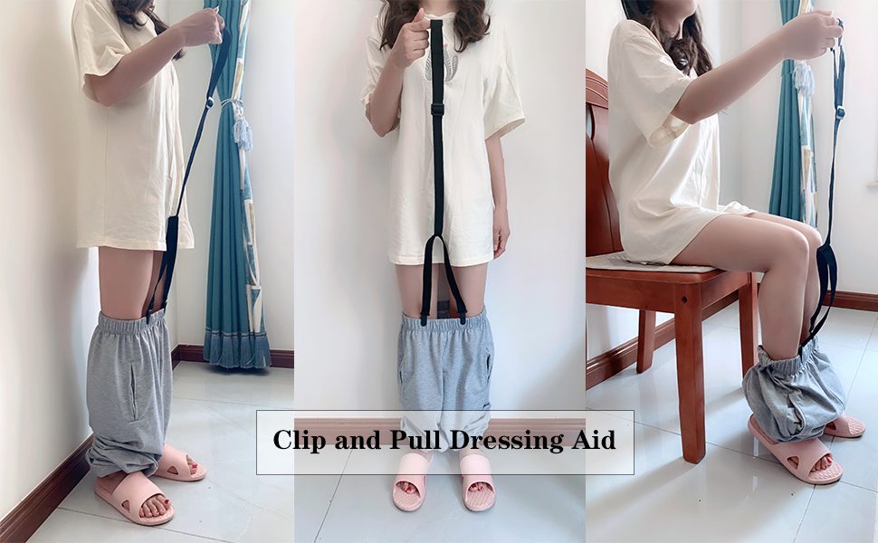 Clip and pull dressing aid