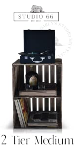 2 Tier Natural Record Stand