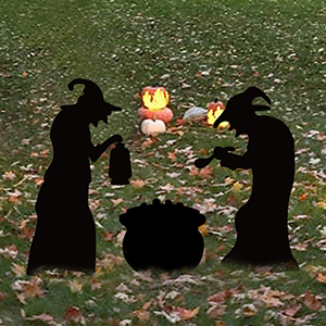 Halloween Witch Black Cauldron Silhouette Decoration DFVVR 2 Witches Black Cauldron Silhouette Halloween Yard Signs with Plastic Piles