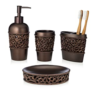 bathroom accessory set, bronze, brown, toothbrush holder set, collection, toothbrush holder