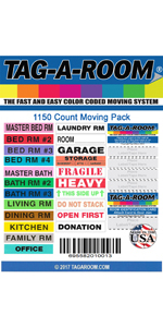 4-5 bedroom house moving labels color-coded