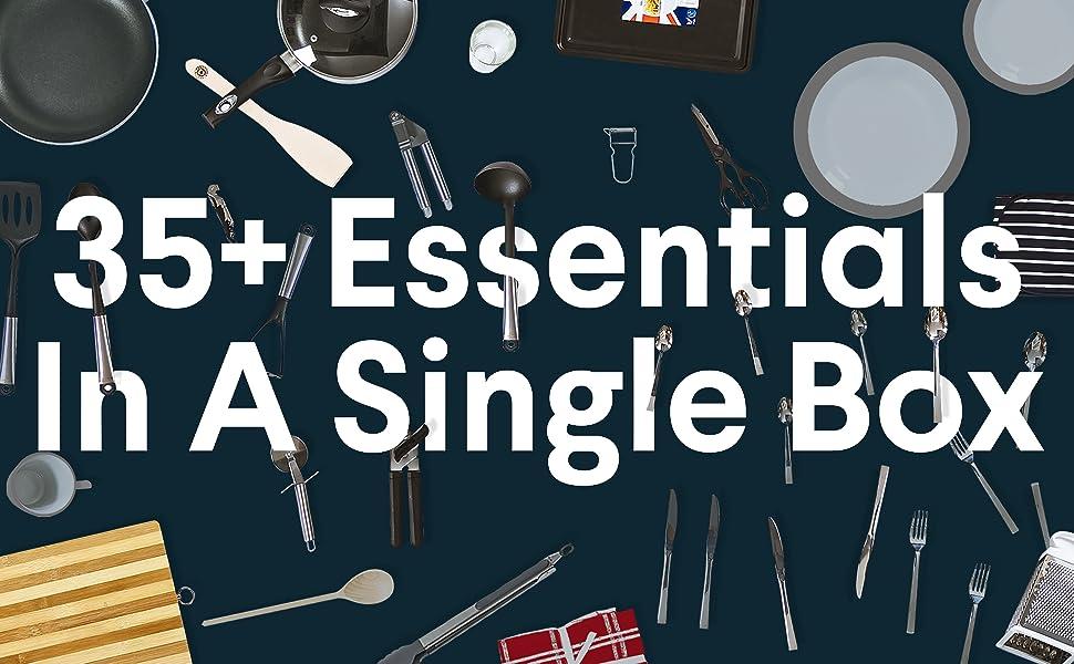 Essential Kitchen Box Kit Cutlery Crockery Tableware Saucepan Frying Pan Moving Homeware Kitchenware