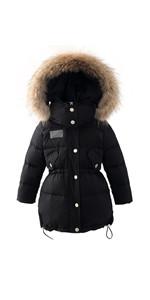 Girls Fur Hooded Puffer Down Jacket Heavy Weight Down Coat