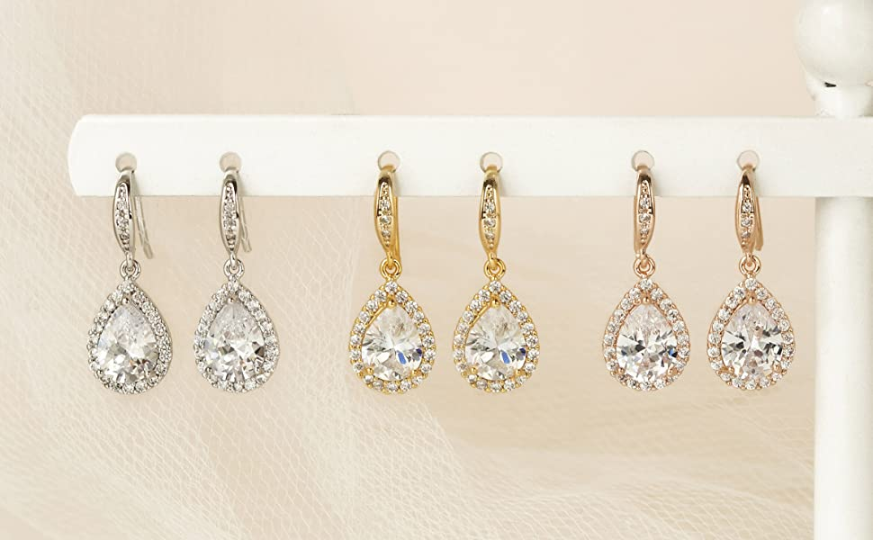 bridesmaid teardrop dangle earrings