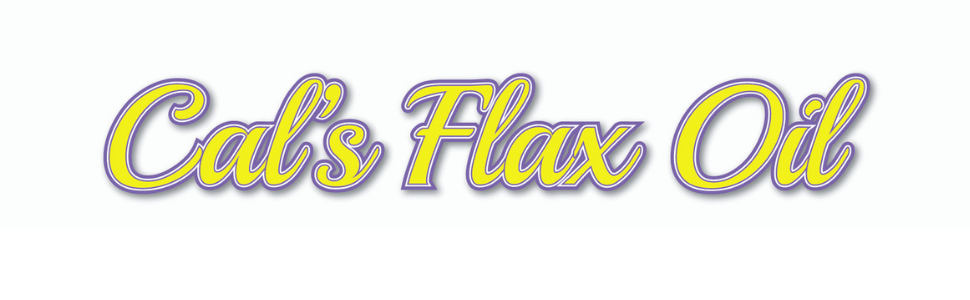 Cal's Flax Oil in purple and gold