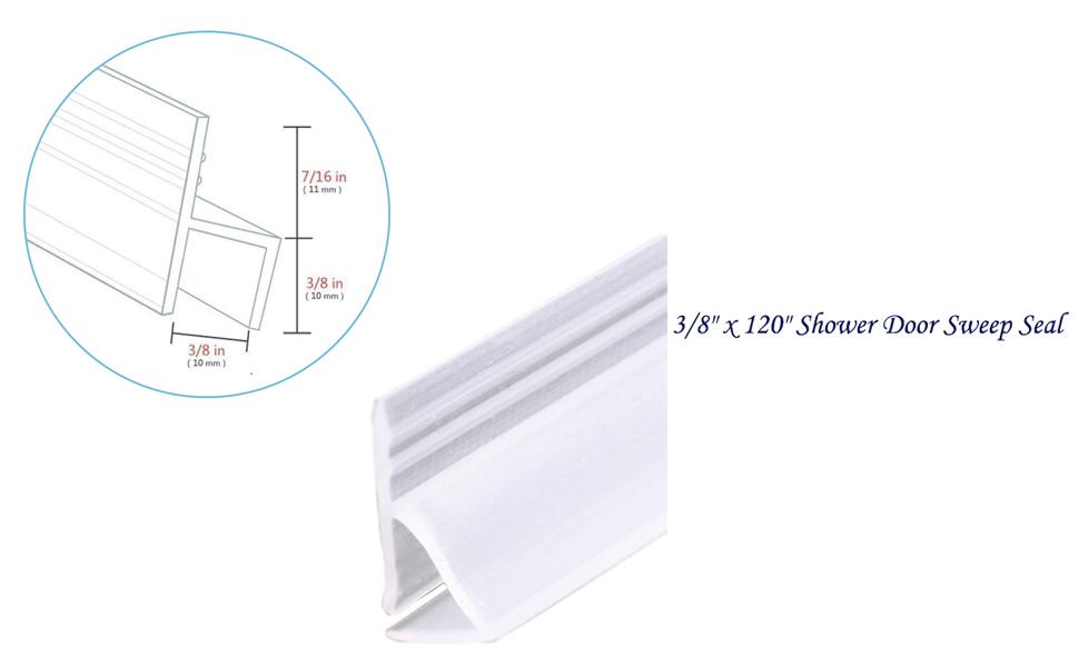H Type 3//8 x 120 Glass Shower Silicone Door Seal Strip TSMST Frameless Shower Door Sweep Seal Drip Rail 1 Pack