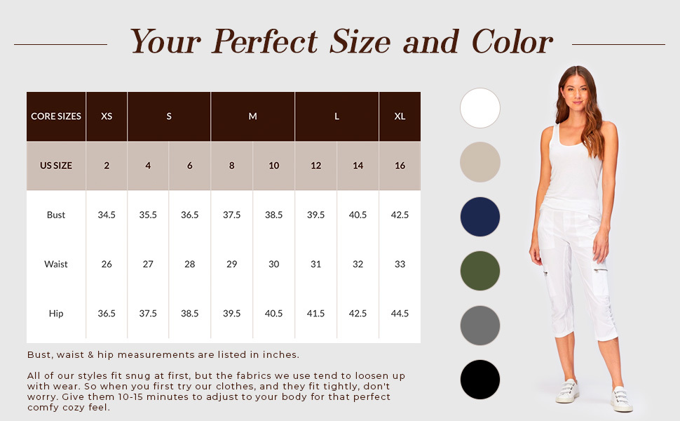 Find your perfect size and color, crop, leggings