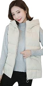 Kulywon Winter Women Cotton Vest Jacket Sleeveless Hooded Coat Short Waistcoat Outwear