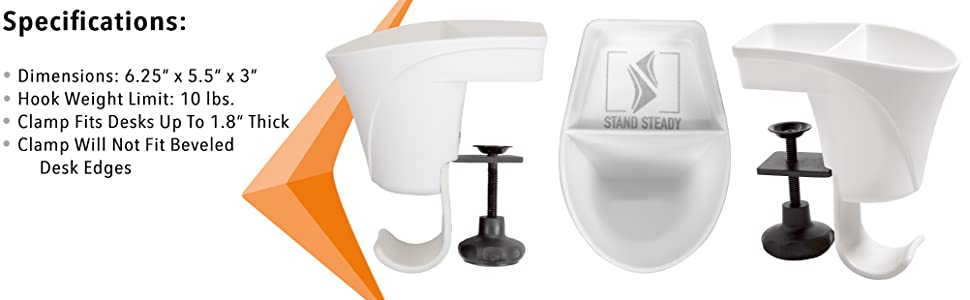 Stand Steady White Pen Cup Desk Accessory Home Table Organizer Clamp On Pen Pencil Holder Bag Hook