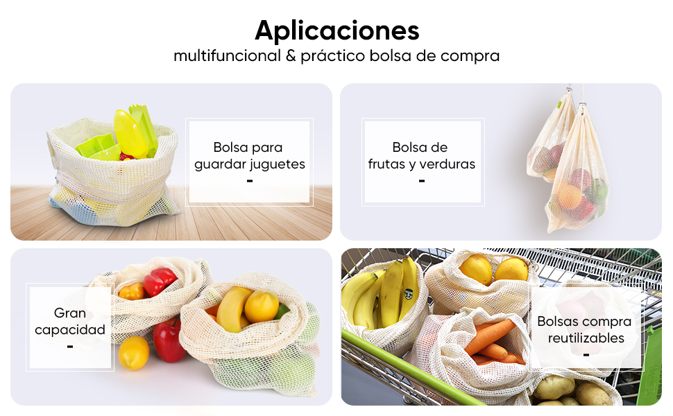 WayEee Bolsas Reutilizables Compra Algodon 8pcs Bolsas Ecologicas ...