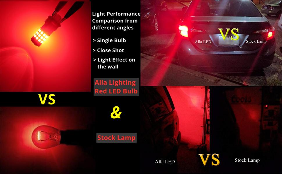 Comparison of Alla Lighting Red 7440 7443 LED Bulb VS Stock Halogen Lamp Car Brake Tail Signal Light