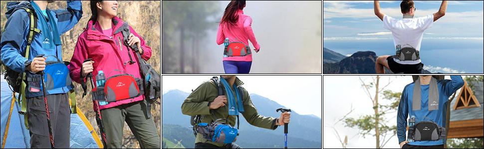 fanny pack for women men kids girls boy water bottle holder running belt hiking walking  waist bag