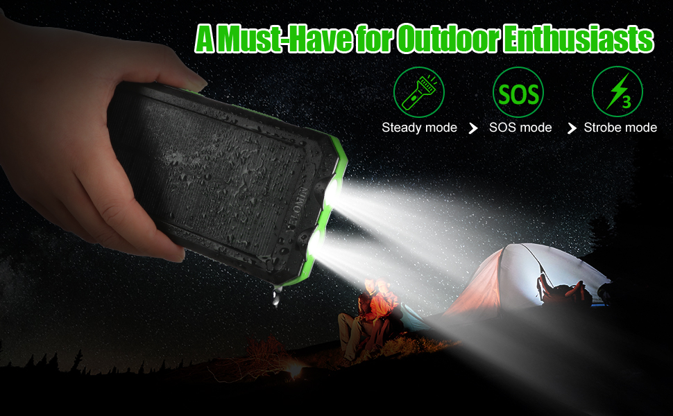 Solar bank is awesome for outside activities such as camping, hiking and other emergency use.