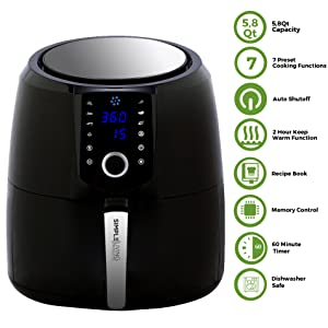 Simple Living Products 5.8Qt XL Hot Digital Air Fryer