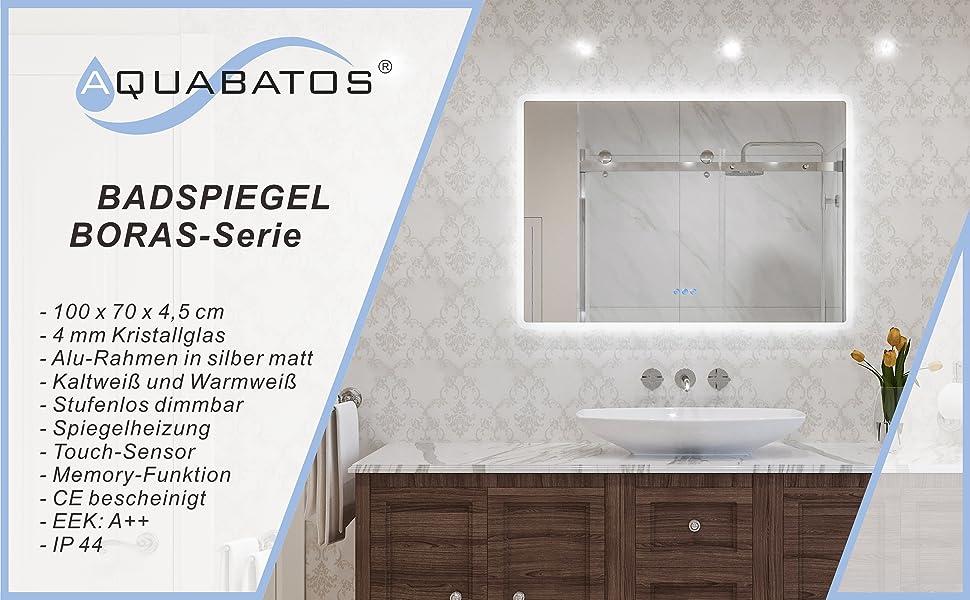 Badezimmerspiegel Wandspiegel mit LED Licht 100x70cm BORAS Typ C