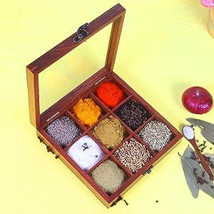 Masala Dabba Containers Jars & Wooden Masala Box for Kitchen Masala Dani
