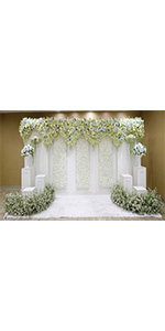 9x6FT White Floral Photo Backgrounds Curtain 3D Flower Wedding Bridal Shower
