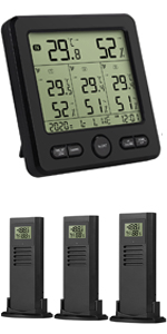 indoor outdoor thermometer with 3 wireless sensors