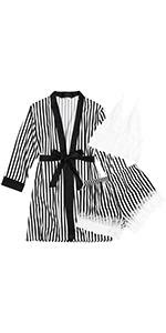 Ekouaer Sleepwear Womens 3 Pieces Satin Pajamas Lace Trim Bralette and Shorts Soft PJs with Robe