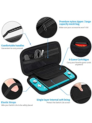 switch lite carrying case,switch lite carry case,switch lite travel pouch,switch lite protective