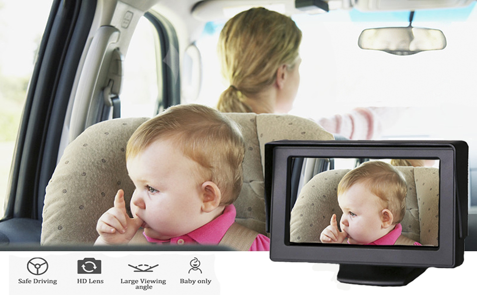car camera for baby rear facing  car baby monitor with camera - Baby-Mirror For-Car Back-Seat - Baby Car Camera With Night Vision, View Infant In Rear Facing Seat With 4.3-Inch HD Display, Observe The Baby's Every Move At Any Time While Driving