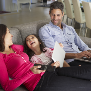 Family using Internet-connected devices