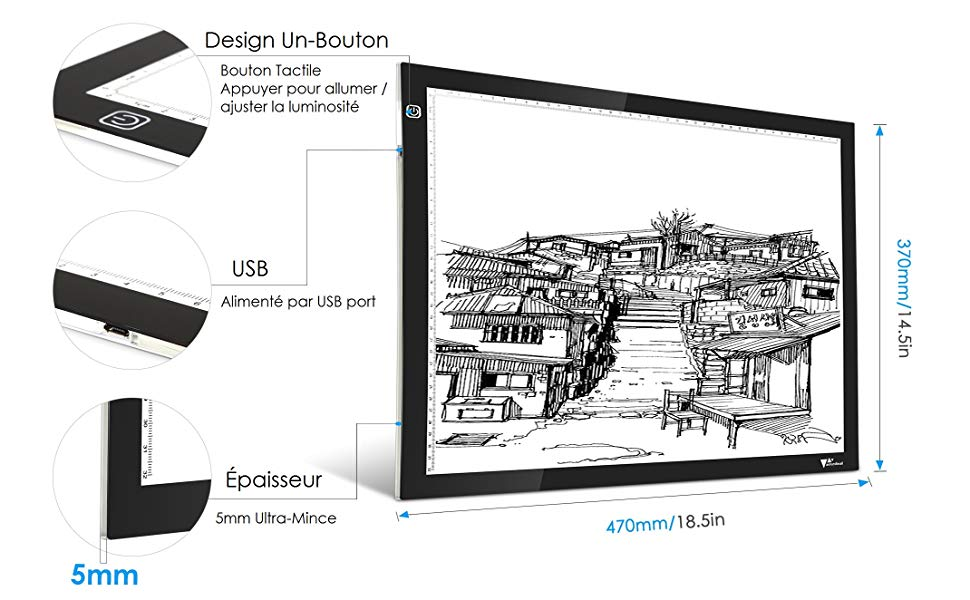 Amzdeal Mesa de Luz Dibujo A3, Tablero de Luz con Brillo Ajustable, Tableta de Luz de Carga USB para Trazar Dibujos, Dibujo, Animación
