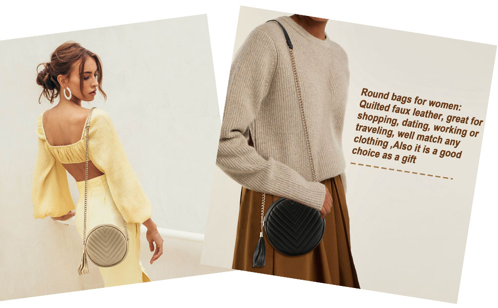 Circle Purse Clutch Evening Round Crossbody Handbag for Women Girls Shoulder Bag with Tassel