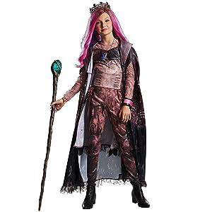 audrey costume closeup, movie villain, pink jumpsuit, black peplum, fingerless glove, sheer sleeves