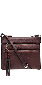 crossbody bag, shoulder purse, tassel, textured, brentano, vegan leather, PU