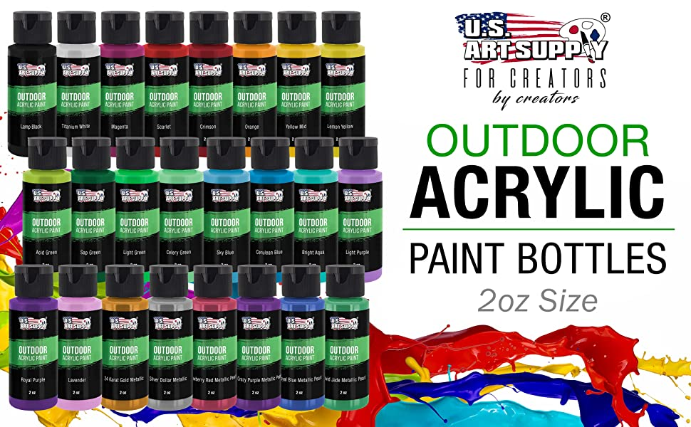 U.S. Art Supply Outdoor Acrylic Paint Bottles 2oz Size