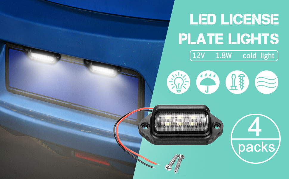 JEDEW 2 pack 12V 6 LED License Plate Lamp Light Taillight for Truck SUV Trailer Van RV Trucks and Boats License Tags Dome//Cargo Lights Black 2-pack Step Courtesy Lights