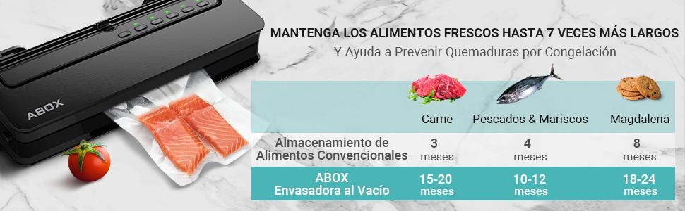 ABOX Envasadora al Vacío Profesional para Alimentos, V63 5 en 1 ...