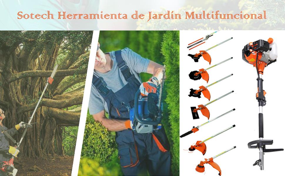 Sotech 10 en 1 Herramienta Multifunción de Jardinería, 52cc, 2.2kw ...