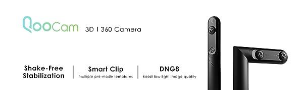 2019 Update QooCam 4K 360 & 3D VR 180 Camera, Video Stabilization, Smart  Clip, Facebook 3D Photos, Easy Editing