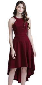 Women's Vintage High Low Cocktail Dress Sleeveless Prom Party Dresses Halter Neck