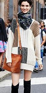 Heshe Womens Leather Crossbody Bag Shoulder Handbags Designer Bucket Purses