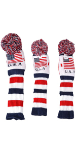 usa flag knitted golf patriotic head covers