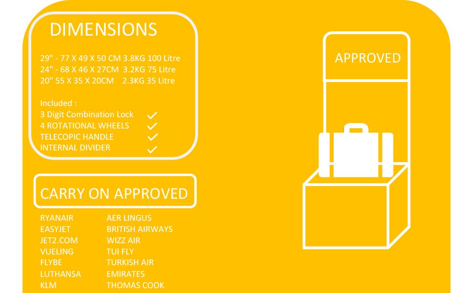Cabin Luggage flymax case 4 wheel lightweight