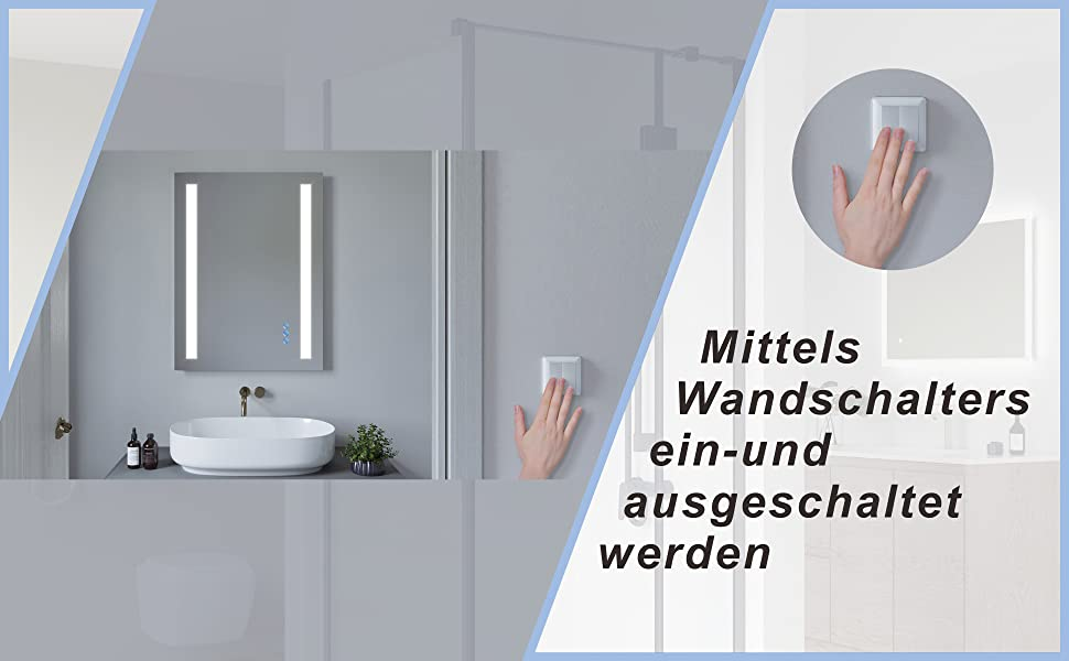 Badspiegel Badezimmerspiegel mit Beleuchtung 80x60cm CANNES Typ C