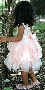 v-back tutu Toddler Girls Flower Lace Holiday Party Christmas Dress