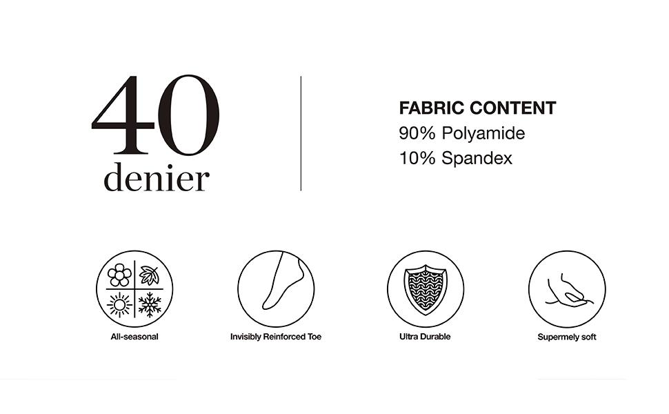 40 Denier - Fabric Composition - 90% Polyamide 10% Spandex