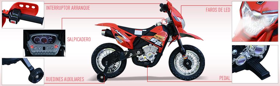 HOMCOM Moto Eléctrica Correpasillos Infantil Coche Triciclo sin ...