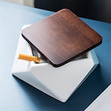 AMITD Ceramic Ashtray with Wood Lid Hexagon /& Pentagon of Windproof Geometric Tray,for Apartment Kitchen,Patio,Office,Storage Boxes Decorative,Stand for Cigar White,Black,Blue,Green,Black pentagon